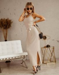 Дълга дамска рокля в цвят шампанско с панделка - код 6166