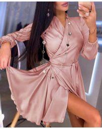 Елегантна рокля в розово - код 2428