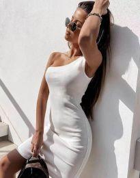 Вталена рокля в бяло с едно рамо - код 6412