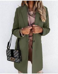 Свободно палто в маслено зелено - код 7709