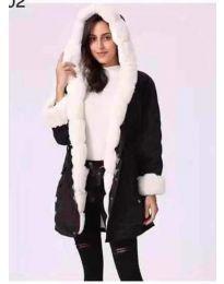Дамско черно яке с ефектен бял пух - код 556
