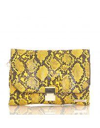 Дамска чанта със змийски десен в жълто - код DM-04