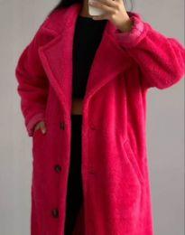 Дълго дамско палто в цвят циклама - код 0465