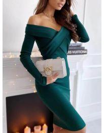 Елегантна рокля в тъмно зелено - код 6130