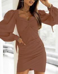 Дамска рокля в кафяво - код 0363