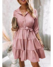 Дамска рокля в цвят пудра - код 6970