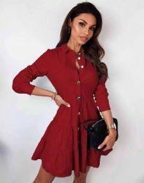 Атрактивна дамска рокля в червено - код 3852