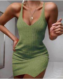 Плетена рокля в маслено зелено - код 1444