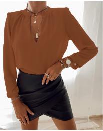Дамска риза с V-образно деколте в кафяво - код 405