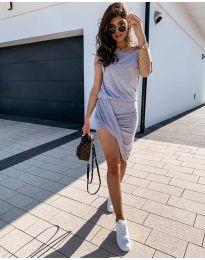 Дамска спортно-елегантна рокля в сиво - код 138