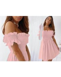 Свободна къса дамска рокля в розово - код 0310
