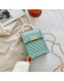 Атрактивна дамска чанта с ефектна дръжка в цвят мента - B528