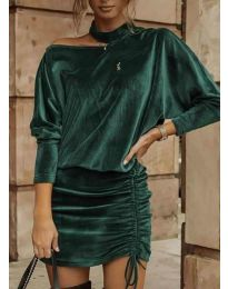 Дамска рокля в маслено зелено - код 8987