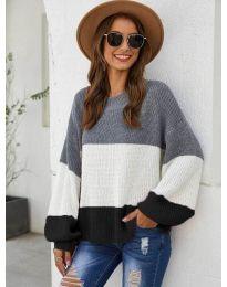 Свободна плетена блуза в черно - код 970