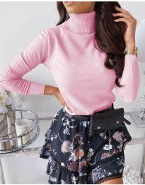 Дамска блуза с поло яка в розово - код 8861