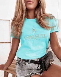 Атрактивна дамска тениска в светлосиньо - код 4004