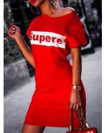 Червена рокля с надпис SUPERE - код 217