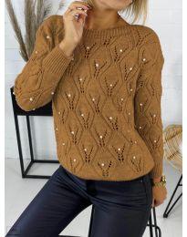 Дамска пуловер в кафяво - код 392