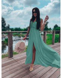 Дълга рокля с цепка в цвят тюркоаз - код 1174
