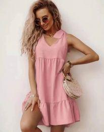 Свободна къса рокля в розово - код 7206