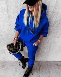 Дамски свободен спортен комплект с долнище и суичър с качулка в синьо - код 12095