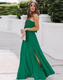 Дамска рокля в зелено с цепка - код 8871