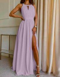 Дълга ефирна рокля в светлолилаво - код 6787