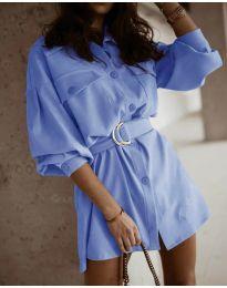 Свободна рокля в светлосиньо - код 6461