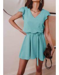 Изчистена рокля в  цвят тюркоаз - код 5551