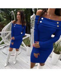 Синя рокля с паднало деколте и дълги ръкави - код 262