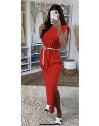 Дълга дамска рокля в червено - код 7049