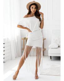 Атрактивна дамска рокля в бяло - код 12003