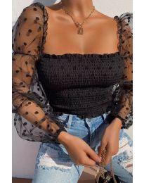 Стилна блуза с ефектни ръкави в черно - код 4419