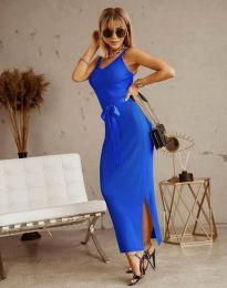 Дълга дамска рокля в синьо с панделка - код 6166