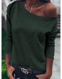 Дамска блуза в маслено зелено  - код 4417