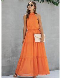 Свободна дълга рокля в оранжево - код 8855