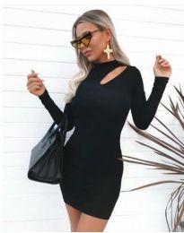 Дамска рокля по тялото в черно - код 11411