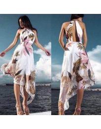 Бяла дамска асиметрична рокля с интересен гръб - код 284