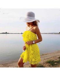 Ефирна рокля в жълто - код 4849