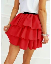 Къса пола на волани в червен цвят - код 913