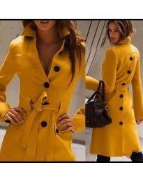 Стилно дамско палто с копчета и колан в горчица - код 788