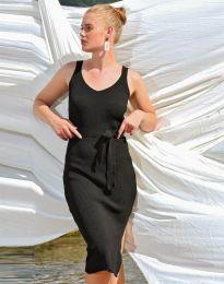 Дамска рокля в черно с цепка - код 2722