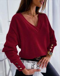 Изчистена дамска блуза в цвят бордо - код 5236