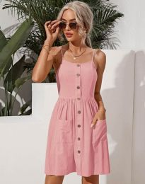 Къса дамска рокля в розово - код 6271