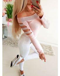 Блуза с паднало деколте и камъни в розово - код 3470