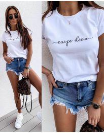 Бяла тениска с принт - код 3438