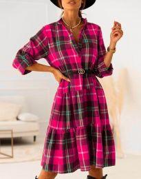 Карирана дамска рокля в розово - код 6842