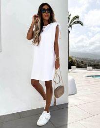 Изчистена дамска рокля в бяло - код 11805