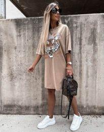 Свободна дамска рокля в бежово - код 11864