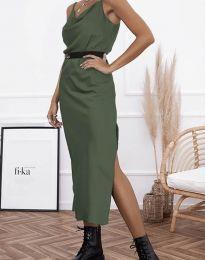 Дамска рокля в масленозелено - код 6231